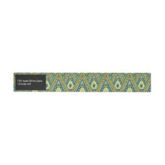 Green yellow boho ethnic pattern wraparound address label