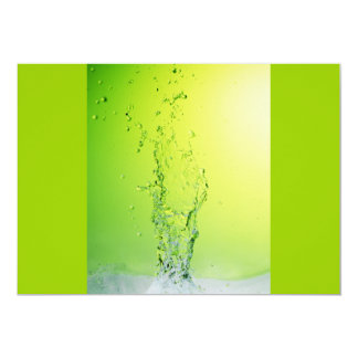 GREEN YELLOW BUBBLES SPLASHES WATER DROPS DIGITAL 13 CM X 18 CM INVITATION CARD