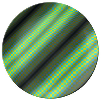 Green & Yellow Checkered Tubes by Kenneth Yoncich Porcelain Plates