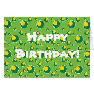 Green Yellow Circles Dots Greeting Card Custom
