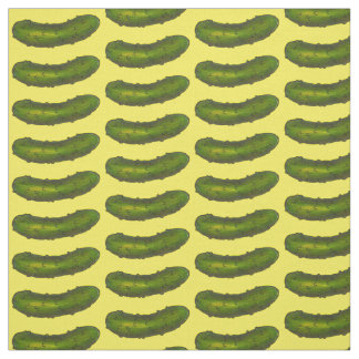 Green Yellow Dill Pickle Crunchy Kosher Pickles Fabric
