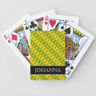 Green & Yellow Dollar Signs ($) Striped Pattern Bicycle Playing Cards