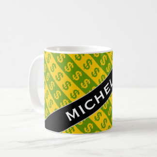 Green & Yellow Dollar Signs ($) Striped Pattern Coffee Mug