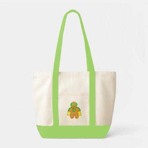 green & yellow gingerbread man super hero bag