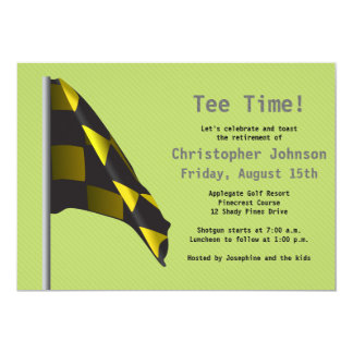 Green Yellow Golf Flag Retirement Party Invitation