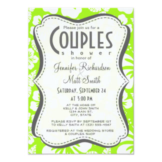 Green-Yellow Hawaiian Tropical Hibiscus Personalized Announcements