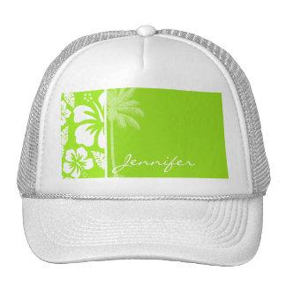 Green-Yellow Hawaiian Tropical Hibiscus; Palm Trucker Hat
