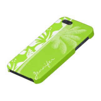 Green-Yellow Hawaiian Tropical Hibiscus; Palm iPhone 5 Covers