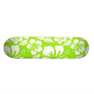 Green-Yellow Hawaiian Tropical Hibiscus Skateboards