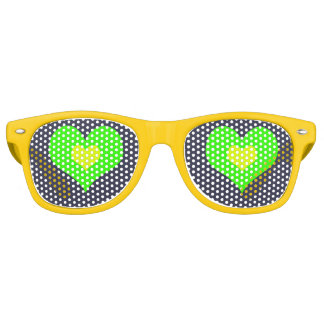 Green Yellow Heart Adult  Party Shades,Sunglass Retro Sunglasses