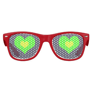 Green Yellow Heart Kid Retro Party Shades,Sunglass Kids Sunglasses