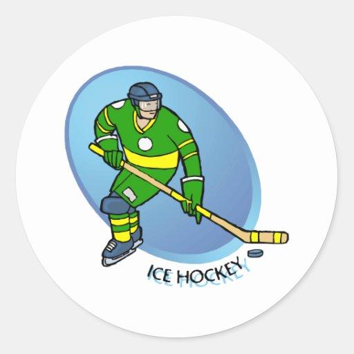 Green Yellow Ice Hockey Sticker