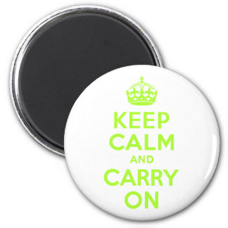 Green Yellow Keep Calm and Carry On 6 Cm Round Magnet