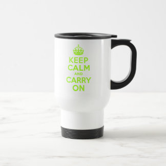 Green Yellow Keep Calm and Carry On Mugs