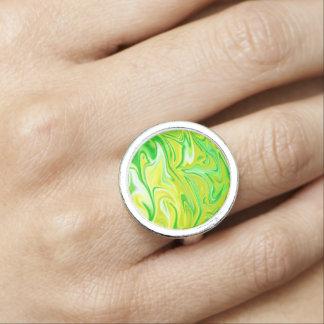 Green Yellow Marbleized Pattern, Silver Dress Ring
