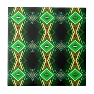 Green Yellow Neon Trendy Tribal Pattern Small Square Tile