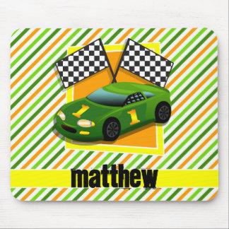 Green, Yellow, & Orange Race Car, Stripes Mouse Pad