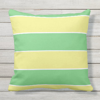 green & yellow pastel large stripes outdoor cushion