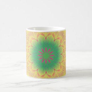 Green yellow, pink, and red mandala coffee mug