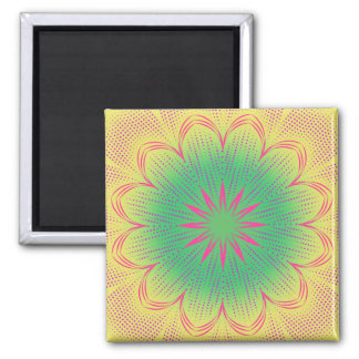 Green yellow, pink, and red mandala magnet