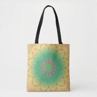 Green yellow, pink, and red mandala tote bag