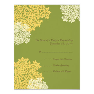 Green & Yellow Queen Anne's Lace Wedding RSVP Card