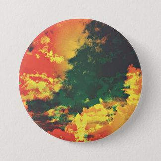 Green yellow red cloud abstract digital art design 7.5 cm round badge
