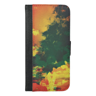 Green yellow red cloud abstract digital art design iPhone 6/6s plus wallet case