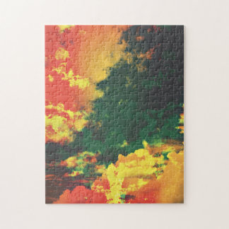 Green yellow red cloud abstract digital art design jigsaw puzzle