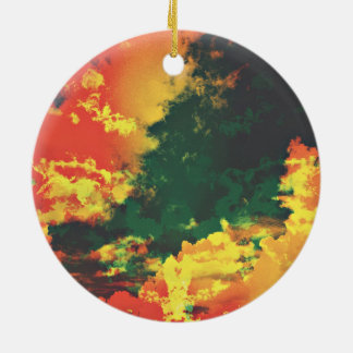 Green yellow red cloud abstract digital art design round ceramic decoration