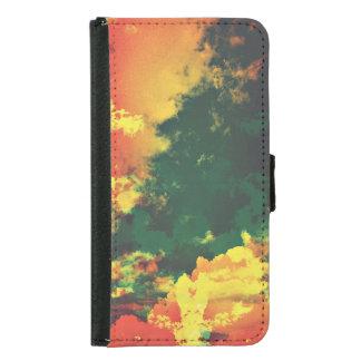 Green yellow red cloud abstract digital art design samsung galaxy s5 wallet case
