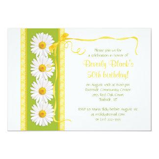 Green Yellow Shasta Daisy Birthday Invitation