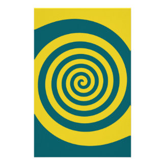 Green yellow spiral personalized stationery