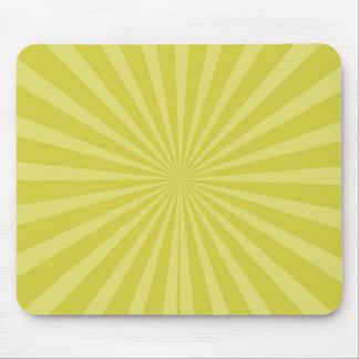Green Yellow Sunburst Sun Rays Striped Pattern Mouse Pad