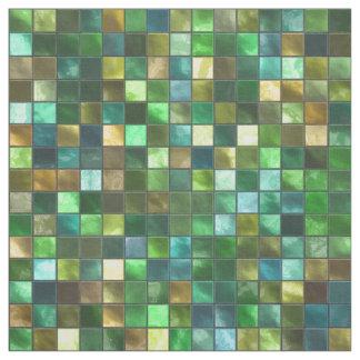 Green Yellow Tiled Square Pattern Mosaic Print Fabric