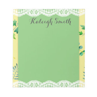 Green Yellow Watercolor Leaves and Lace Notepad