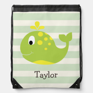 Green & Yellow Whale on Pastel Green Stripes Drawstring Bag