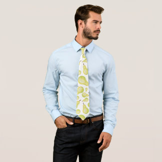 Green Yellow White Pears Fruit Pattern Abstract Tie