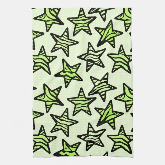 Zebra Tea Towels: Green Yellow Zebra Print Stars Tea Towel