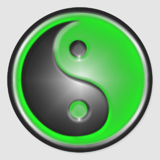 Green Yin Yang Classic Round Sticker