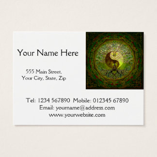 Green Yin Yang Mandala with Tree of Life Business Card