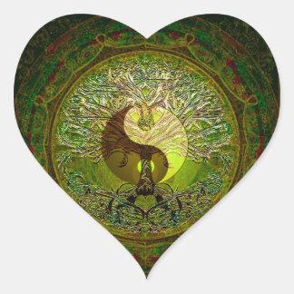 Green Yin Yang Mandala with Tree of Life Heart Sticker
