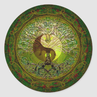 Green Yin Yang Mandala with Tree of Life Round Sticker