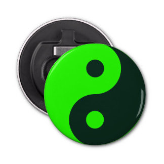 Green Yin Yang Symbol Bottle Opener
