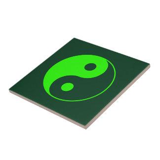 Green Yin Yang Symbol Small Square Tile