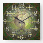Green Yin Yang with Positive Words Wall Clocks
