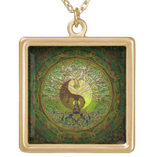 Green Yin Yang with Tree of Life Gold Plated Necklace