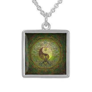 Green Yin Yang with Tree of Life Pendant