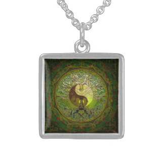 Green Yin Yang with Tree of Life Square Pendant Necklace