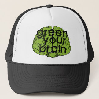 Green your brain trucker hat
